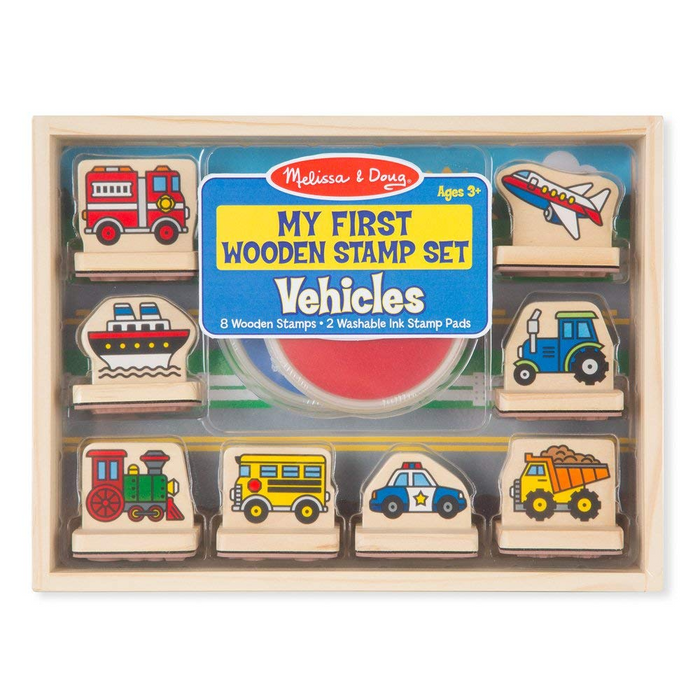 Melissa & Doug My First Wooden Stamp Set - Vehicles