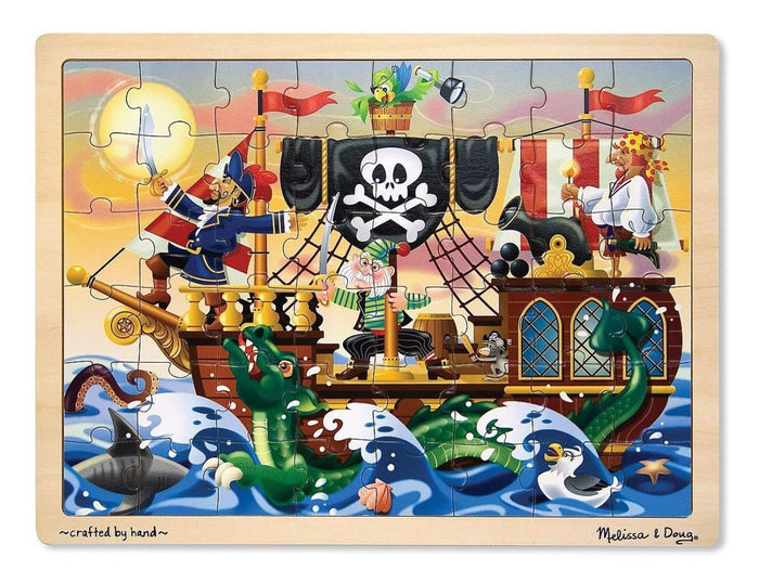 Melissa & Doug Wooden Jigsaw Puzzles - Pirate Adventure (48 pc)