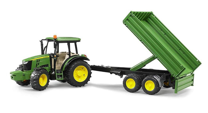 Bruder John Deere 5115M Toy Tractor With Tipping Trailer