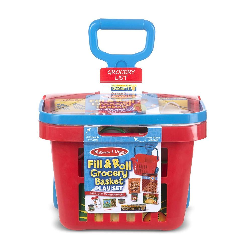 Melissa & Doug Fill and Roll Grocery Basket Set with Play Food Boxes and Cans