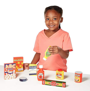 Melissa & Doug Wooden Pantry Products Play Food Set