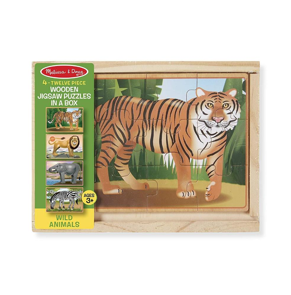 Melissa & Doug Wild Animals 4-in-1 Wooden Jigsaw Puzzles in a Storage Box