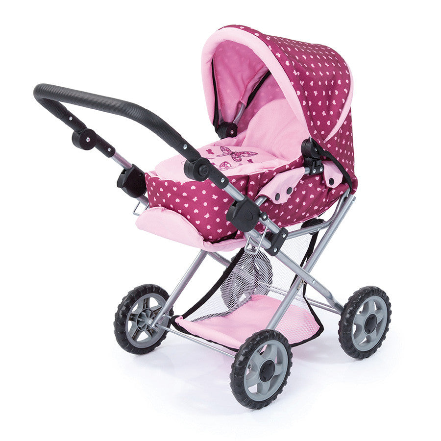 Bayer Maxi Doll's Pram Pink/Butterfly