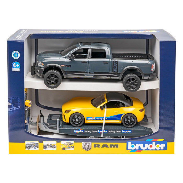Bruder RAM 2500 Power Wagon with Bruder Roadster, figure and trailer