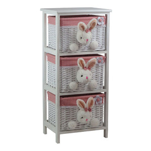 Kids Room 3 Drawer Willow Basket Set - Pink & White