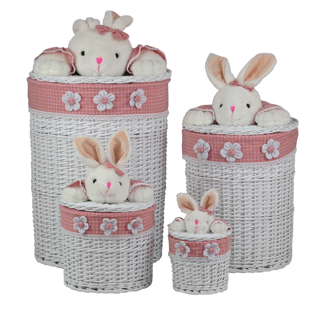 Pink & White Round Bunny Baskets - 4 Piece