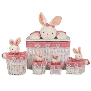 Pink & White Bunny Basket Set - 5 Pieces