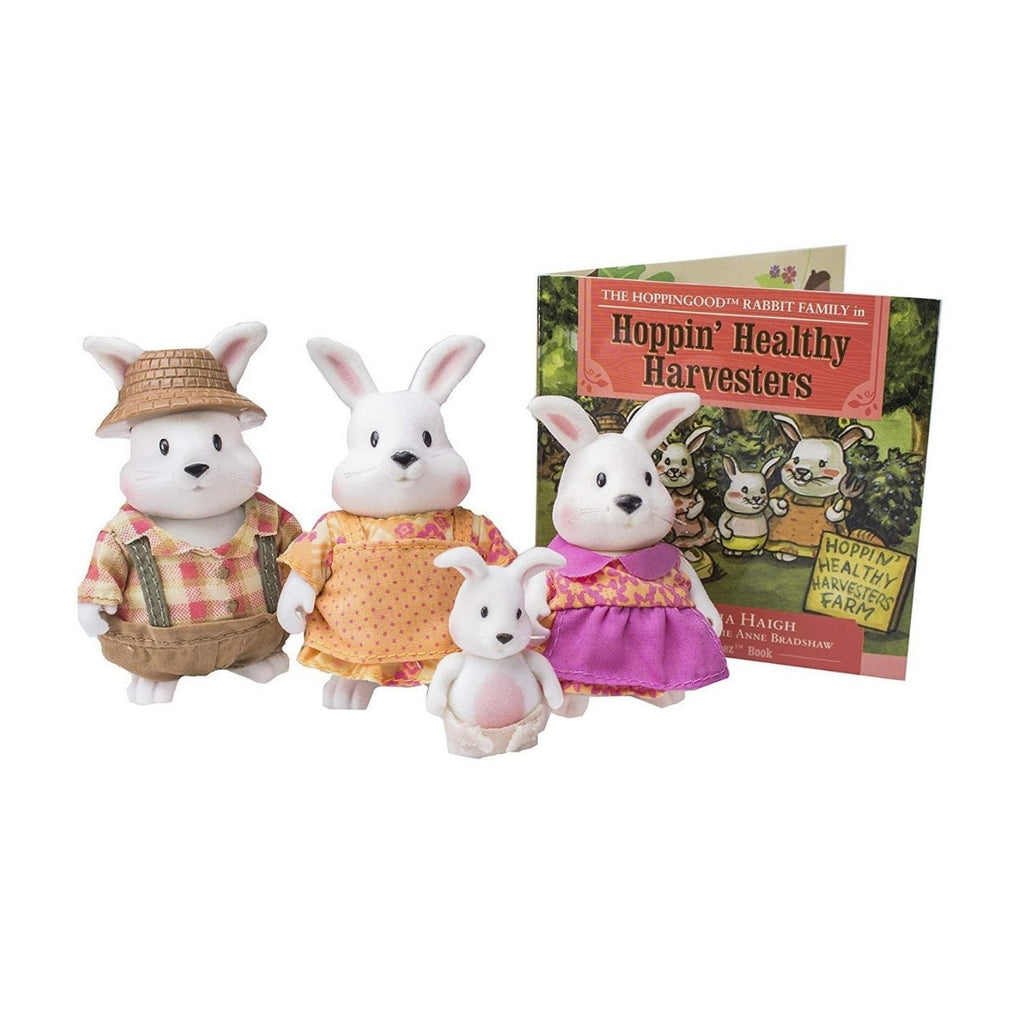 Li'L Woodzeez Rabbit Family With Book