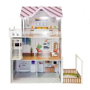Manor Doll House With Lift & 18 Piece Furniture Pink