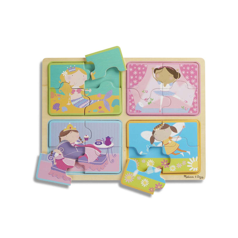 Melissa & Doug Natural Play Wooden Puzzle Little Princesses