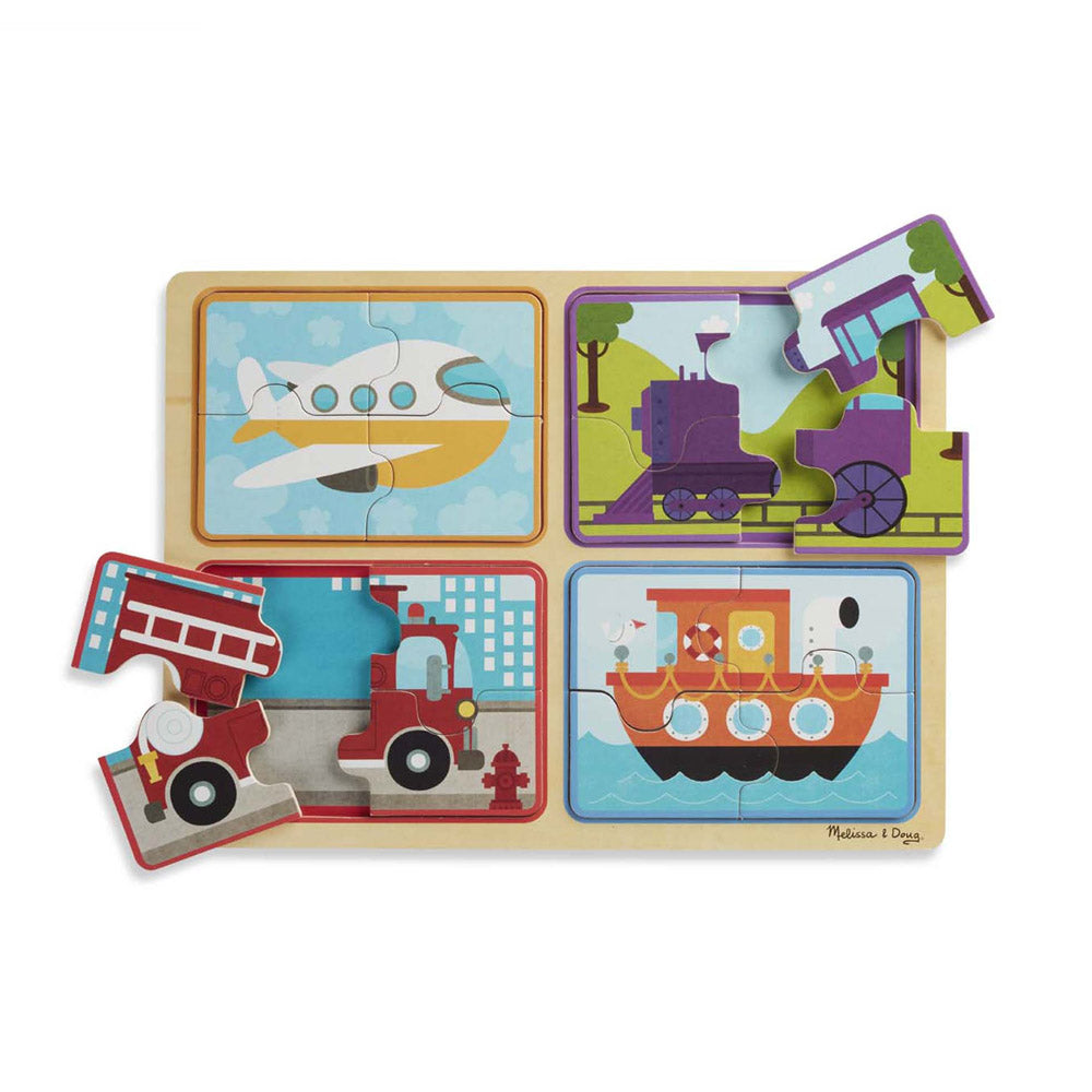 Melissa & Doug Natural Play Wooden Puzzle Ready Set Go
