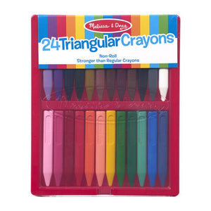 Melissa & Doug Triangular Crayons 24 Pack in Flip Top Case Non Roll