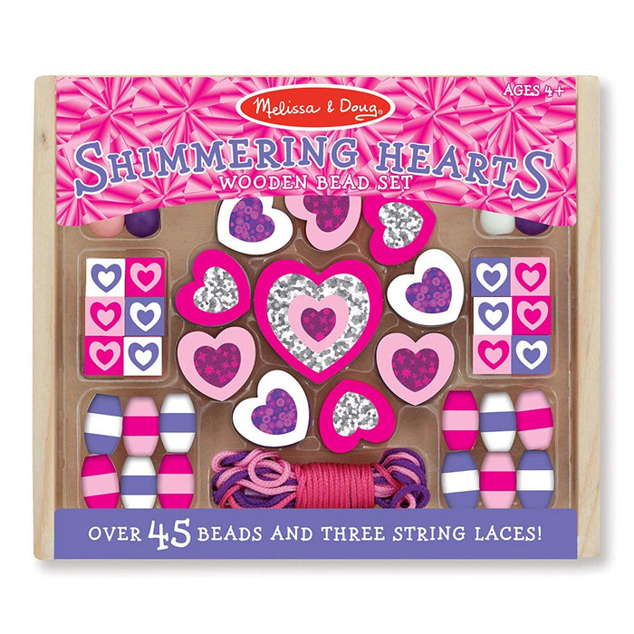 Melissa & Doug Shimmering Hearts Wooden Bead Set