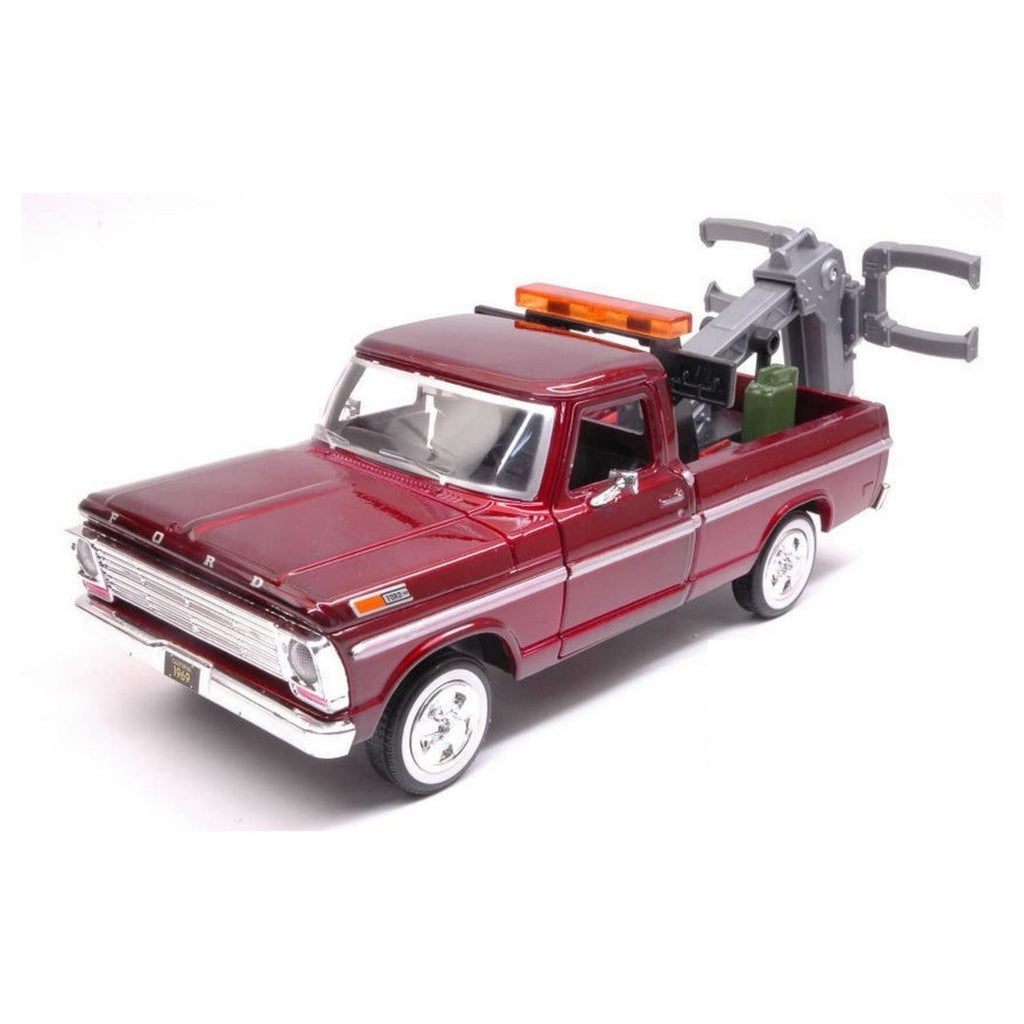 Motormax Ford F-150 Tow Truck Burgundy 1969 1:24 Scale Diecast Car