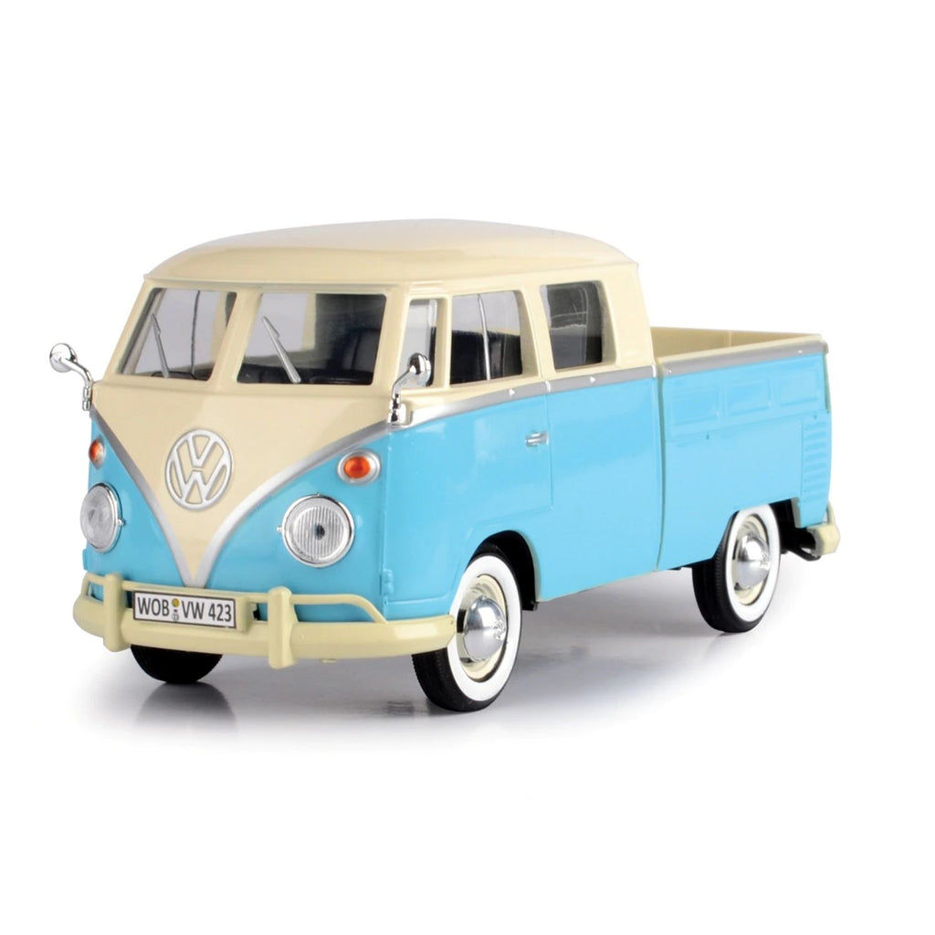 Motormax Volkswagen Type 2 ( T1 ) - Pickup Cream/Light Blue 1:24 Scale Diecast Car