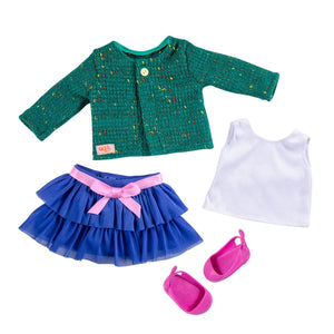 Our Generation Regular Ruffle Skirt & Sweater Outfit Bright & Brisk