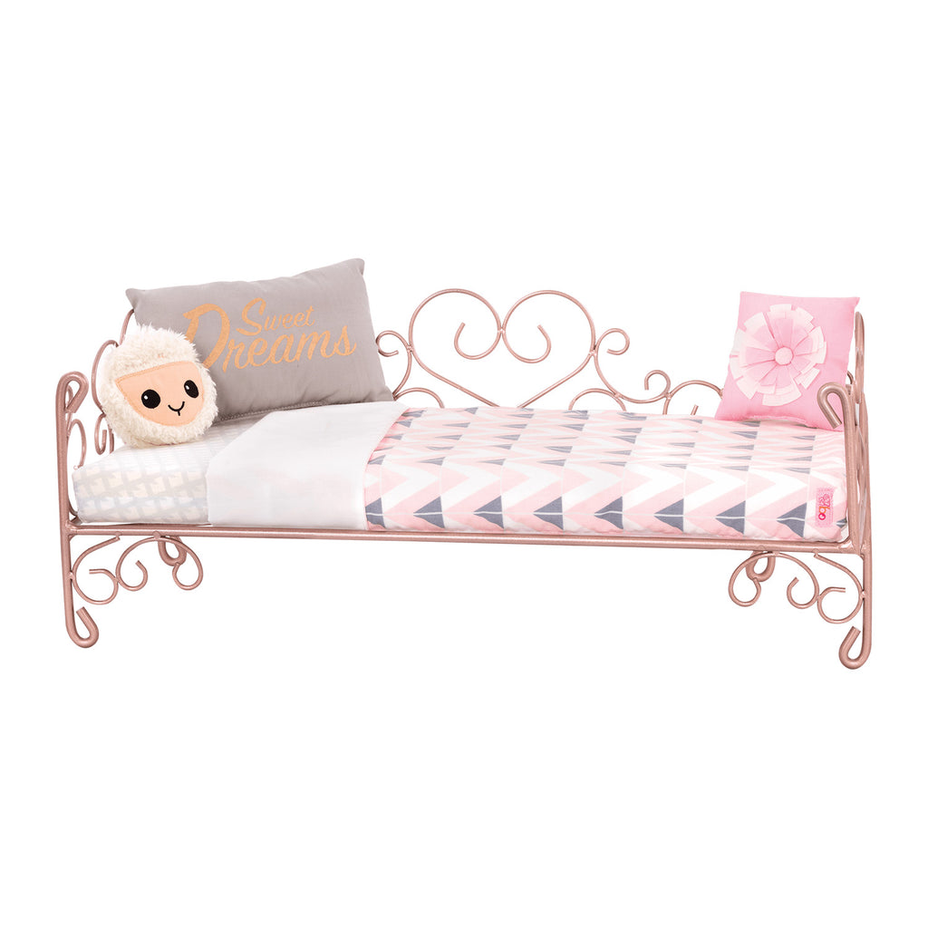Our Generation Yellow Scroll Heart Bed for 18inch Doll