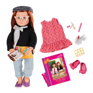 Our Generation Deluxe Doll Twin Sabina 18 inch Redhead With Book