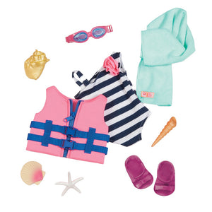 Our Generation Regular Swim Suit & Life Vest Fun Day Sun Day