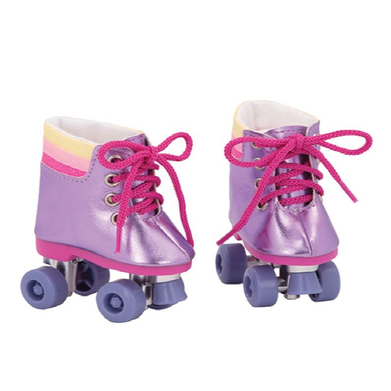 Pink  Roller Skates for Girl Dolls 18 Inch Doll Shoes Our Generation