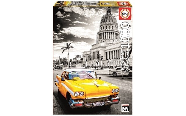Educa Taxi In La Havana, Cuba - Coloured B&W - 1000pcs Adult Puzzle