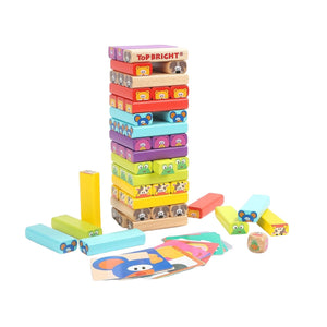 TopBright - Animal Jenga Game With Activity Cards