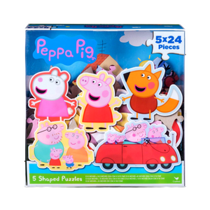Peppa Pig 5 Shaped Puzzles In Clear Lid Box (24PC)
