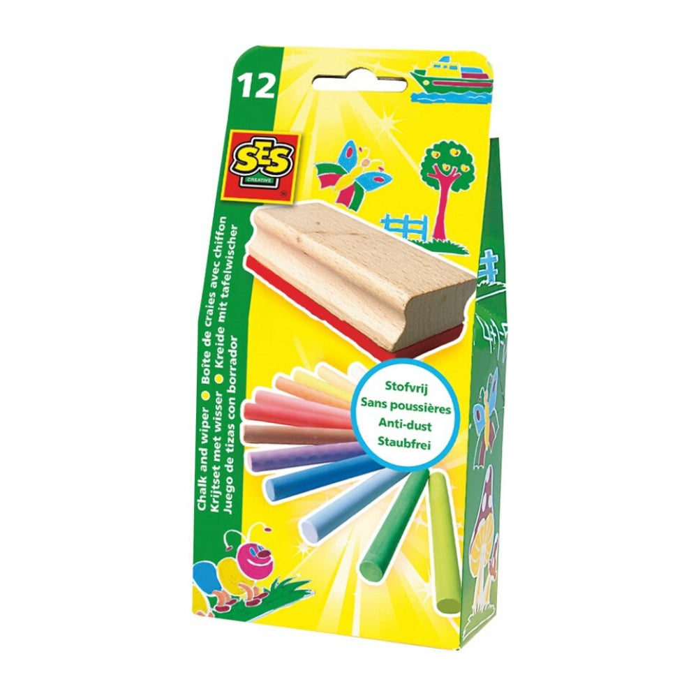 SES Creative Coloured Chalk With Duster