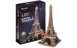 CubicFun Eiffel Tower (France) 3D Puzzle 85pc With LED Unit
