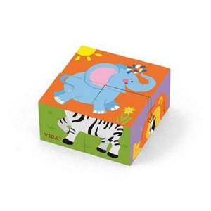 VIGA Wild Animals Cube Puzzle (4PC)