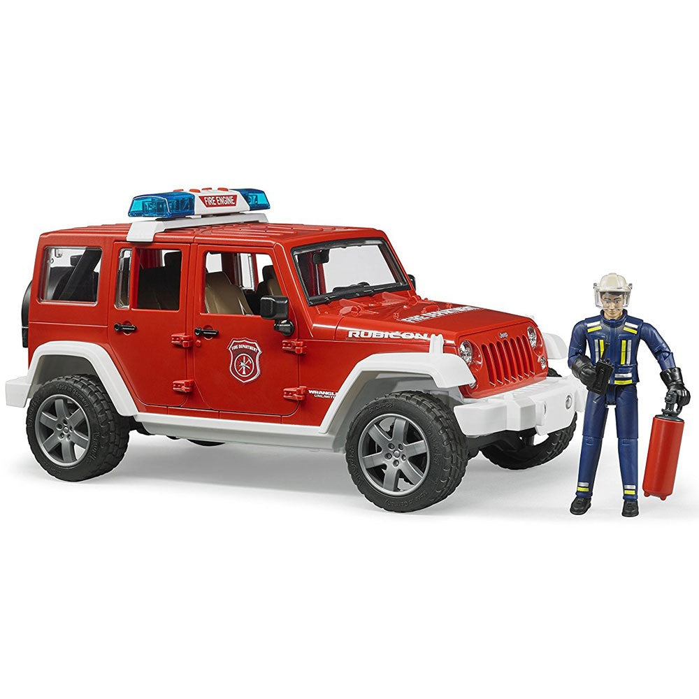 Bruder Jeep Wrangler Unlimited Rubicon fire department vehicle with fireman