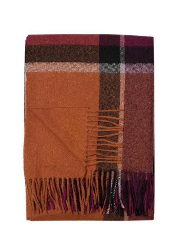 Alpaca and Lambswool Plaid Wool Throws