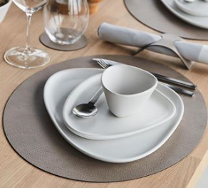Pebbled Recycled Leather Placemats - Round - Set of 4