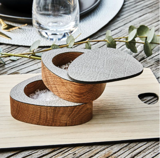 Pebbled Recycled Leather Salt & Pepper Holder