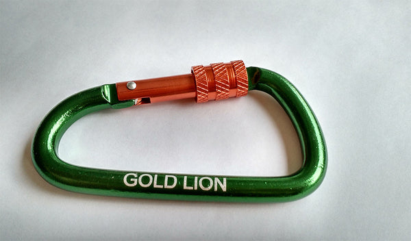 "Gold Lion Gear 3"" Carabiner keychain and keyring set (5 pack)"