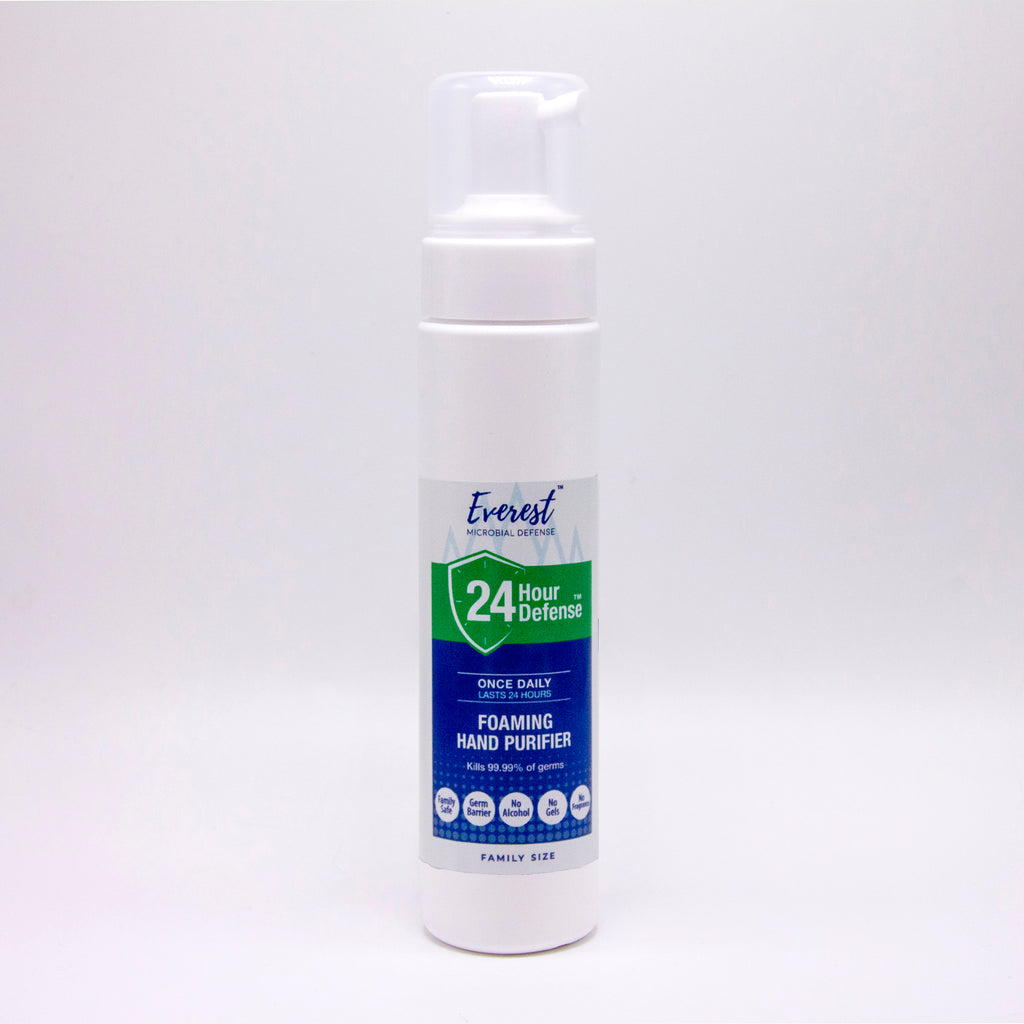 Family size (8oz) bottle of Everest Microbial Defense alcohol-free, foaming hand sanitizer.