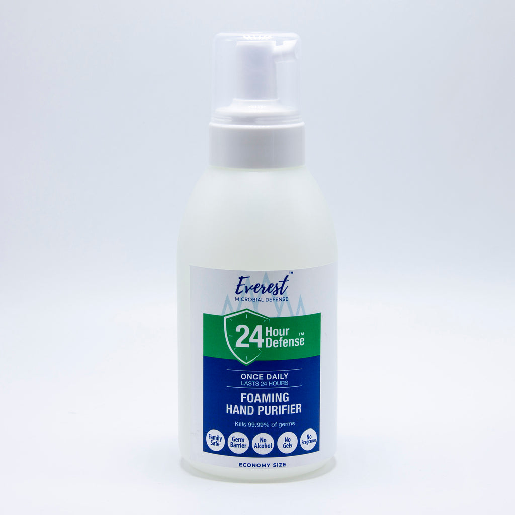 Economy size (20 ounces) bottle of Everest Microbial Defense alcohol-free, foaming hand sanitizer.