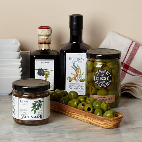 Olives And Oil Gift Set With Serving Dish