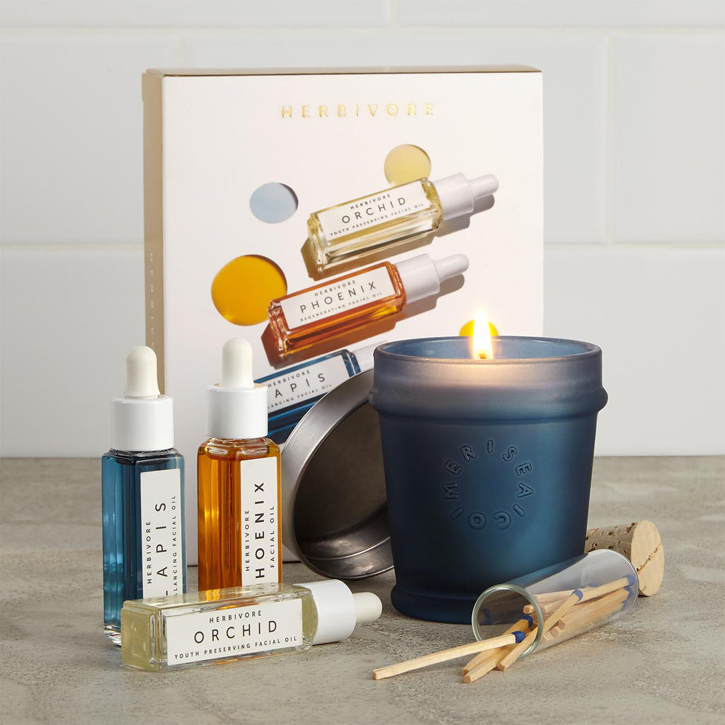 Herbivore Mini Facial Oil Trio and Candle Gift Set