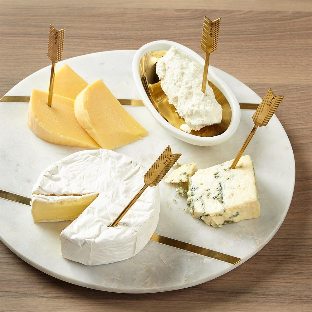 Cheese Board With Gold Accessories Gift Set