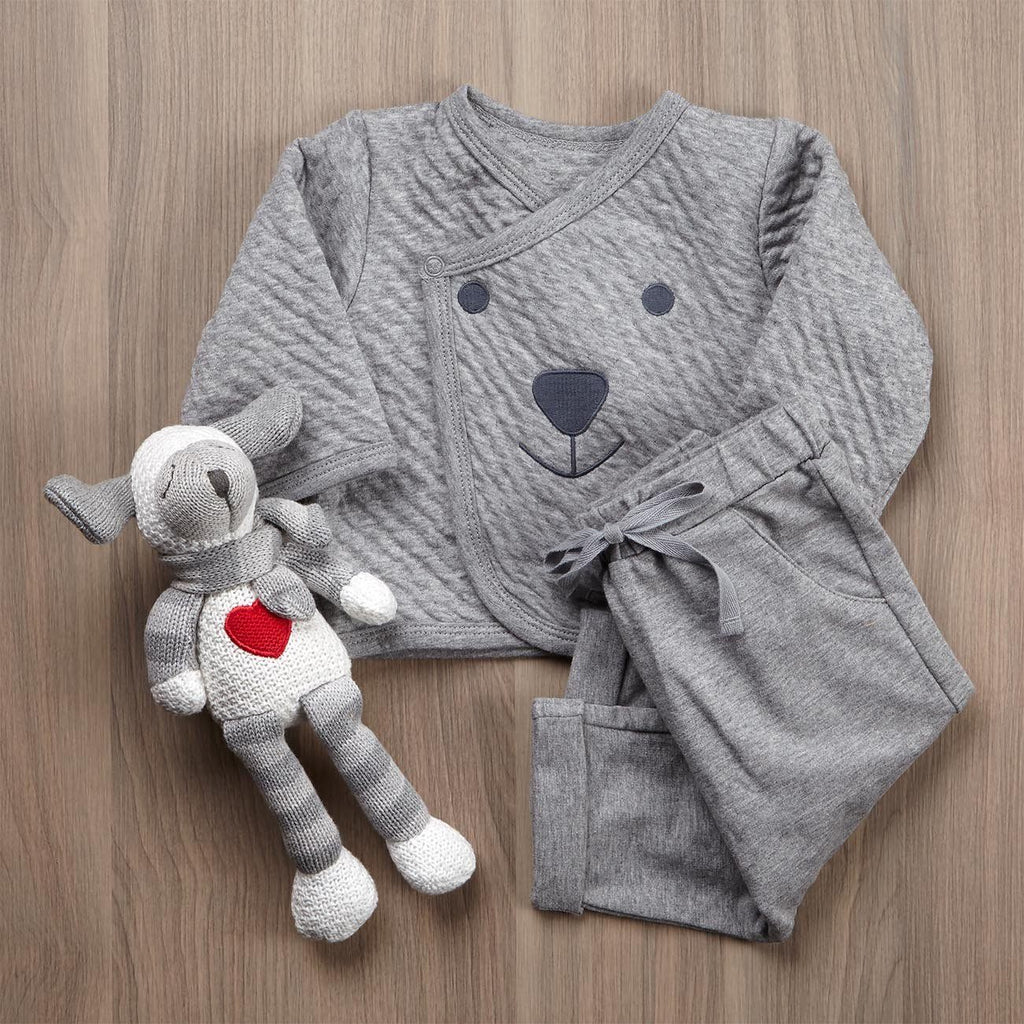 Lambie And Pajamas In Grey Gift Set For Baby