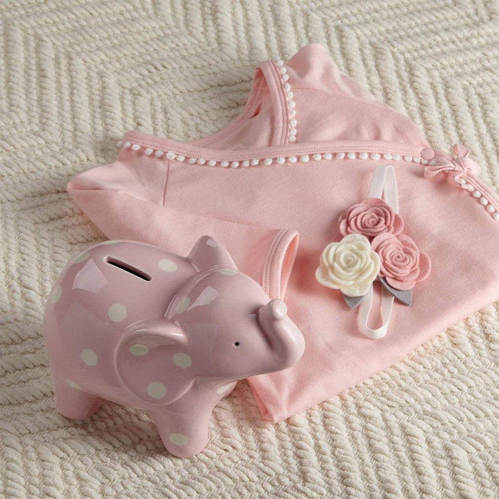Baby Overalls And Piggy Bank In Pink Gift Set