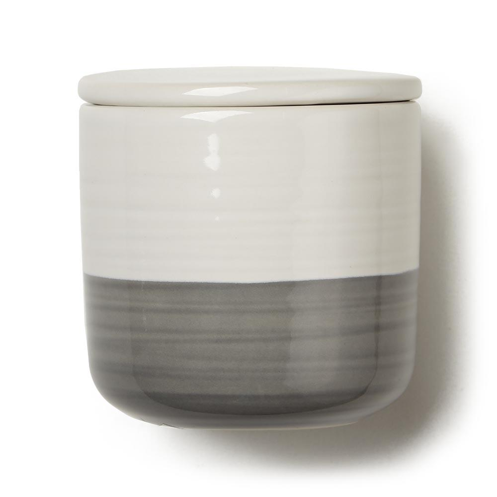 Ivory and Gray Stoneware Cansister