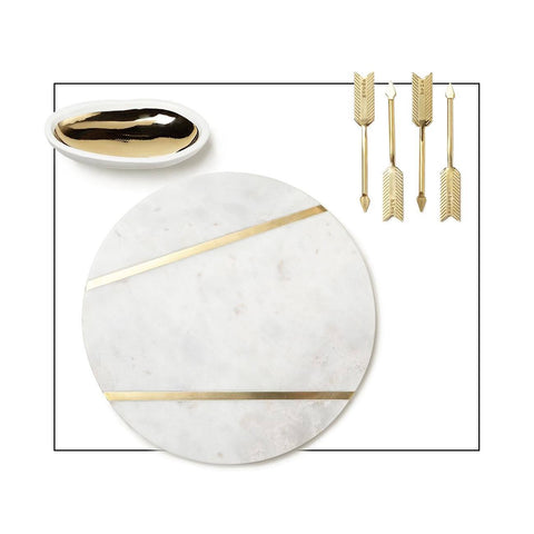 Cheese Board With Gold Accessories