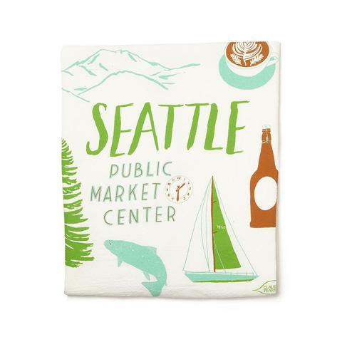 Cotton Seattle Monuments Tea Towel