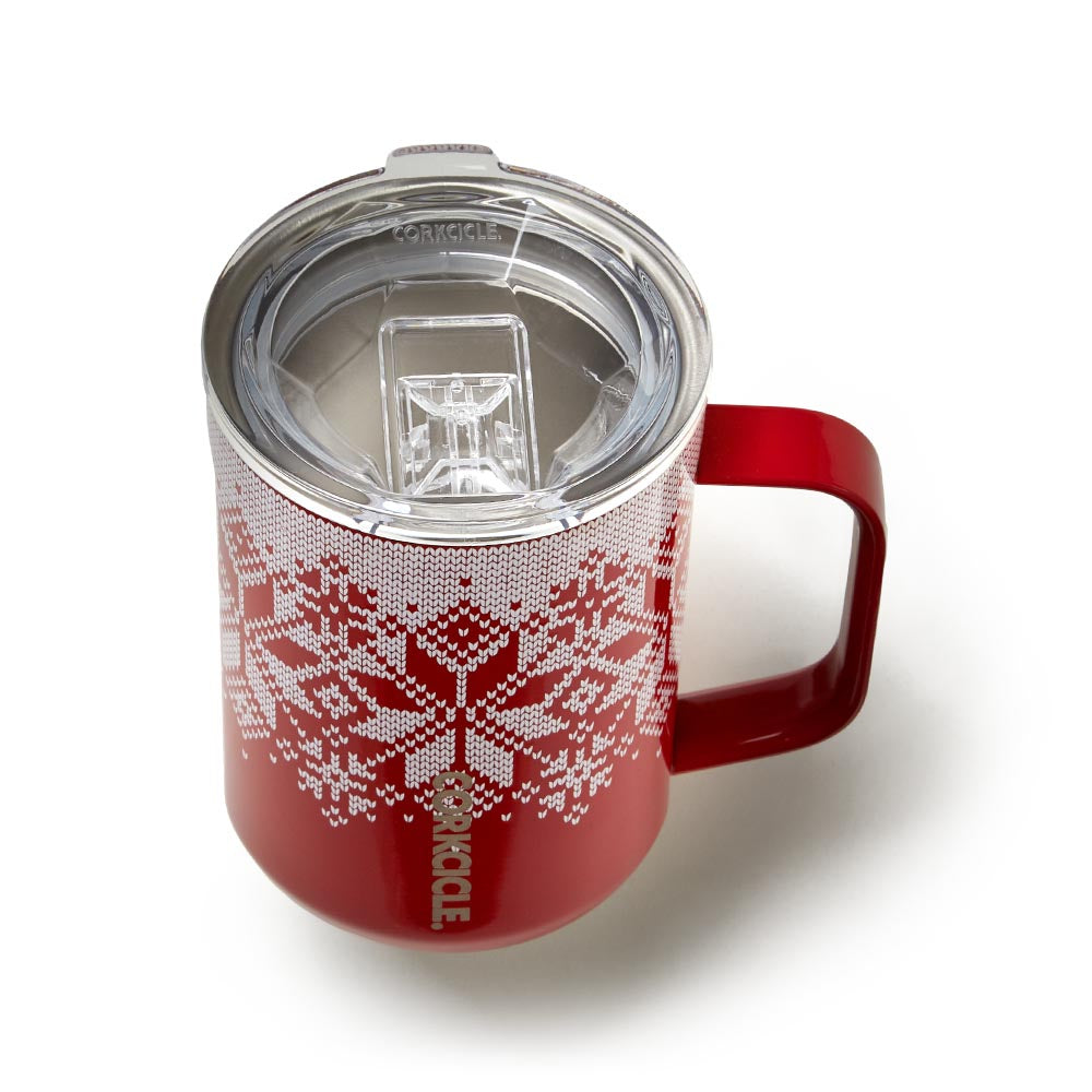 Triple-Insulated Stainless Steel Cup with Handle Corkcicle 16oz Coffee Mug Fairisle Red