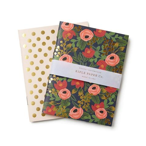 Rifle Paper Co. Rosa pocket notebooks, set of 2, blank interiors. 64 pages, 5.5