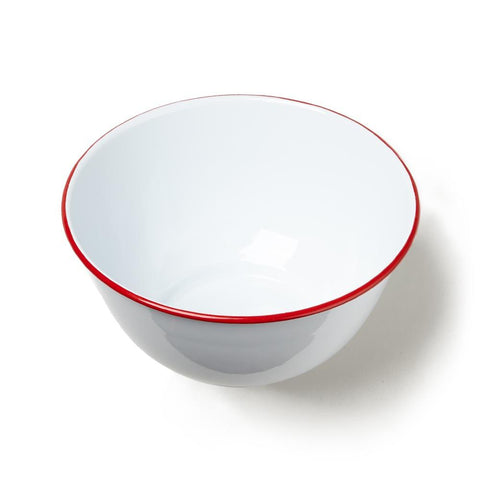 Red Rim Large Enamelware Serving Bowl