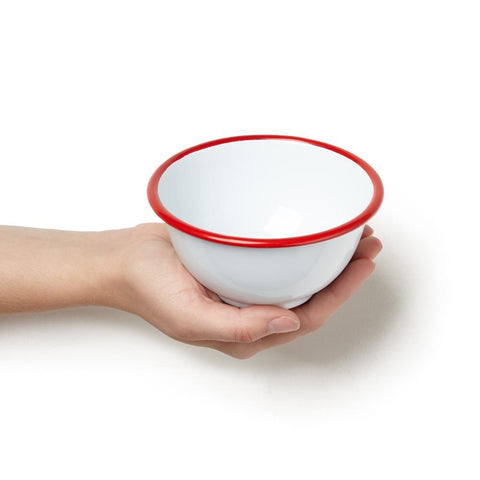Red Rim Small Enamelware Snack Bowl