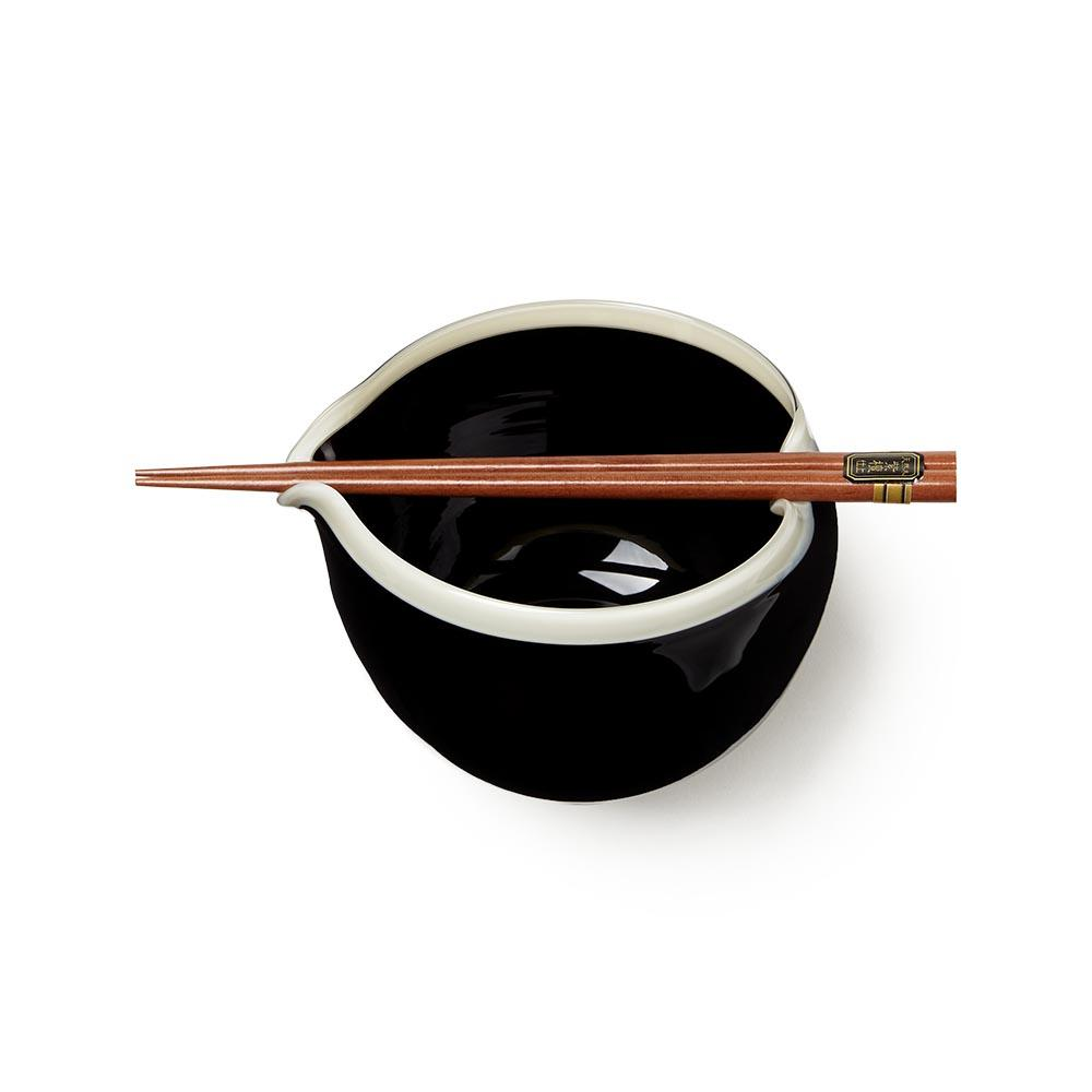Monochrome Handblown Glass Noodle Bowl Gift Set